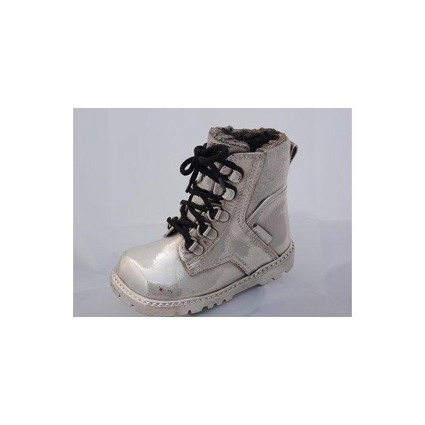 Barnestøvle m.snørre forsølvet op 16 cm